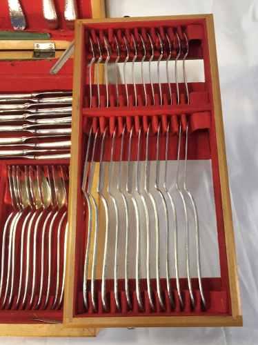Antigo Faqueiro Prata 90 Wolff 130 Peças Completo Na Caixa