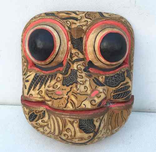 Máscara Africana Em Madeira Figura Sapo