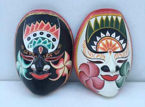 Belissimo Par De Mascara Africana Em Madeira Policromada