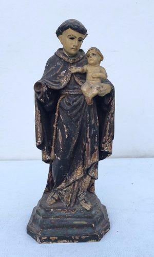 Arte Sacra - Imagem Santo Antonio Em Madeira Olhos De Vidro