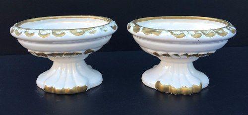 Antigo Par De Vaso Floreira Em Porcelana