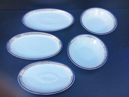Antigo Conjunto Travessas Jantar Azul Com Ouro Porcelana Real