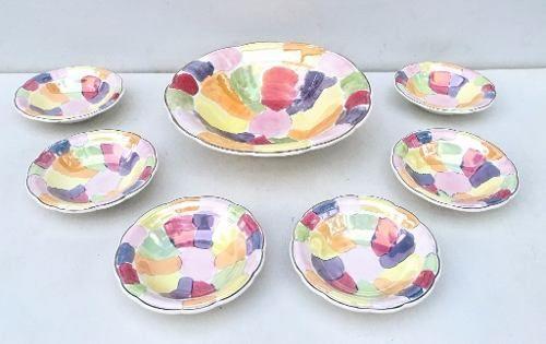 Antigo Conjunto Saladeira E Cumbucas Porcelana Nadir