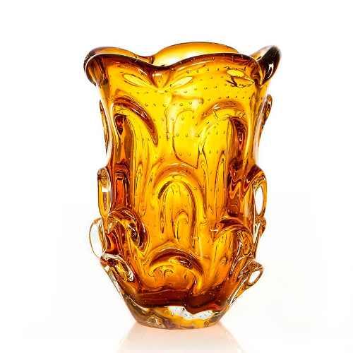 Vaso De Murano Cristal Sao Marcos Ambar Com Bolhas