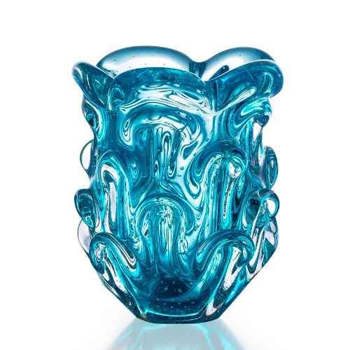 Lindo Vaso Em Cristal Murano Sao Marcos Azul Com Bolhas