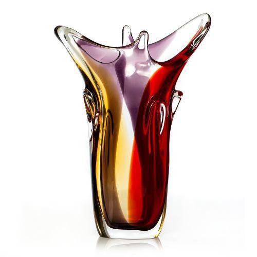 Grande vaso em murano colorido cristal sao marcos imp rio dos antigos - Vasos grandes cristal ...