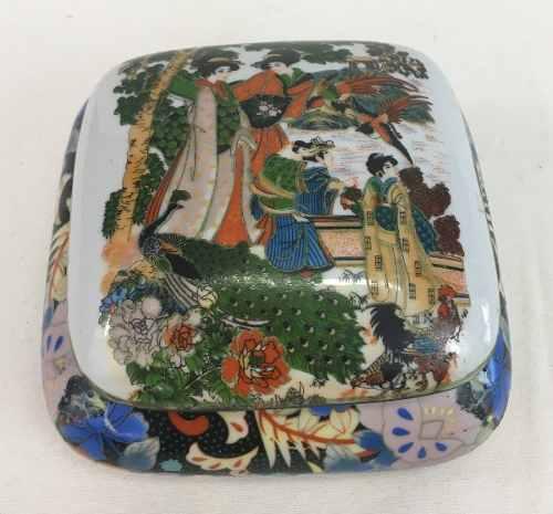 Caixa Porta Joia Em Porcelana Oriental Pequena