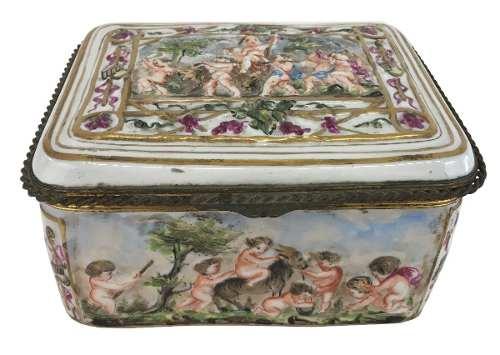 Caixa Porcelana Antiga Capodimonte Napoles Autentica