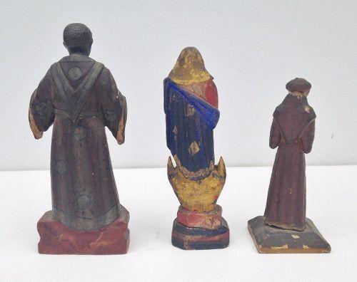 Antigo Trio De Santos Em Madeira