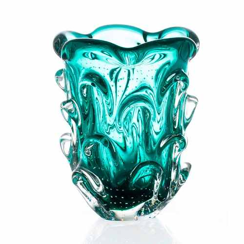Lindo Vaso Em Cristal Murano Sao Marcos Verde Esmeralda