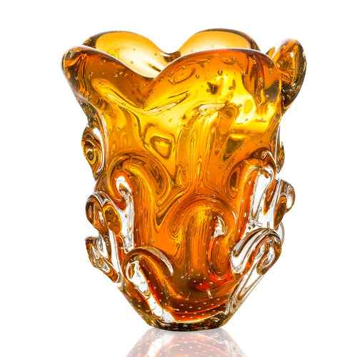 Vaso Em Cristal Murano Sao Marcos Ambar Com Bolhas