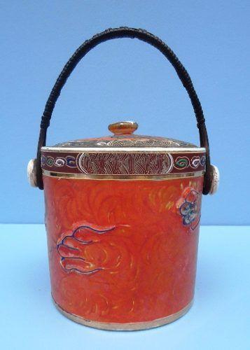Antiga Biscoiteira Porcelana Oriental Satsuma