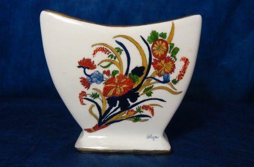Antigo Vaso Floreiro Pintado A Mao Detalhes Ouro