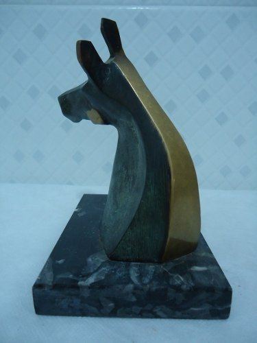Antiga Escultura Cavalo Em Bronze Base De Marmore