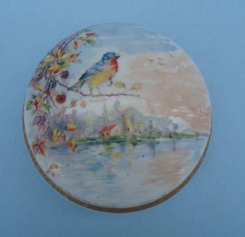 Antiga Caixinha Porcelana Desenho Passaro Belissima!