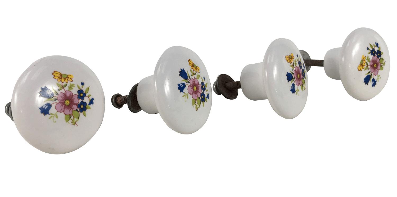 4 Puxador De Gaveta Em Porcelana Com Flores