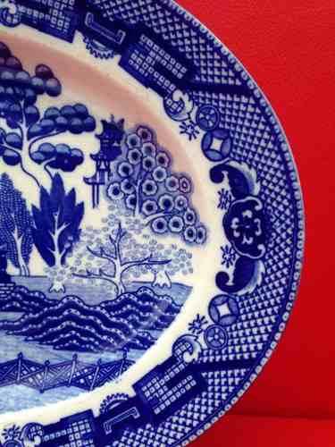 Travessa Prato Porcelana Antiga Pombinho Japonesa