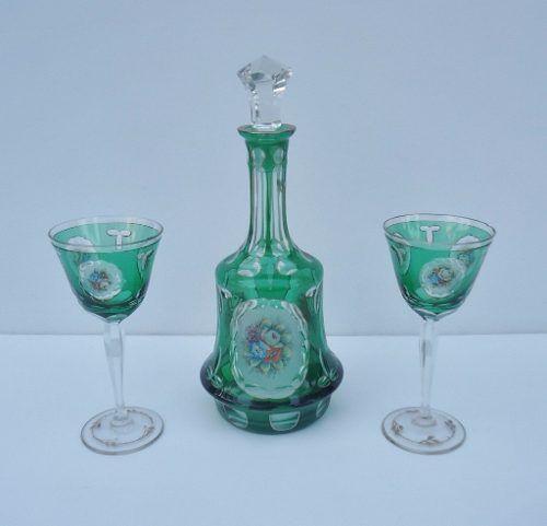 Magnifico Conjunto Garrafa Com 2 Taças Em Cristal Tcheco