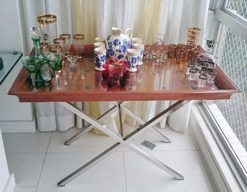Mesa De Cha Bebida Em Inox E Madeira Da Artefacto