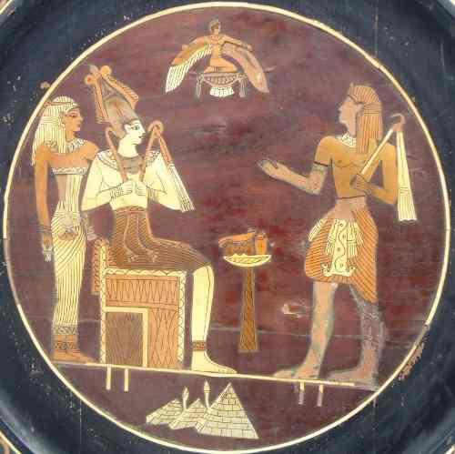 Antigo Quadro Egipcio Em Madeira Todo Marchetado