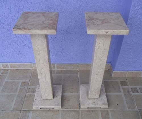 Antigo Par De Colunas Em Mármore 67cm De Altura