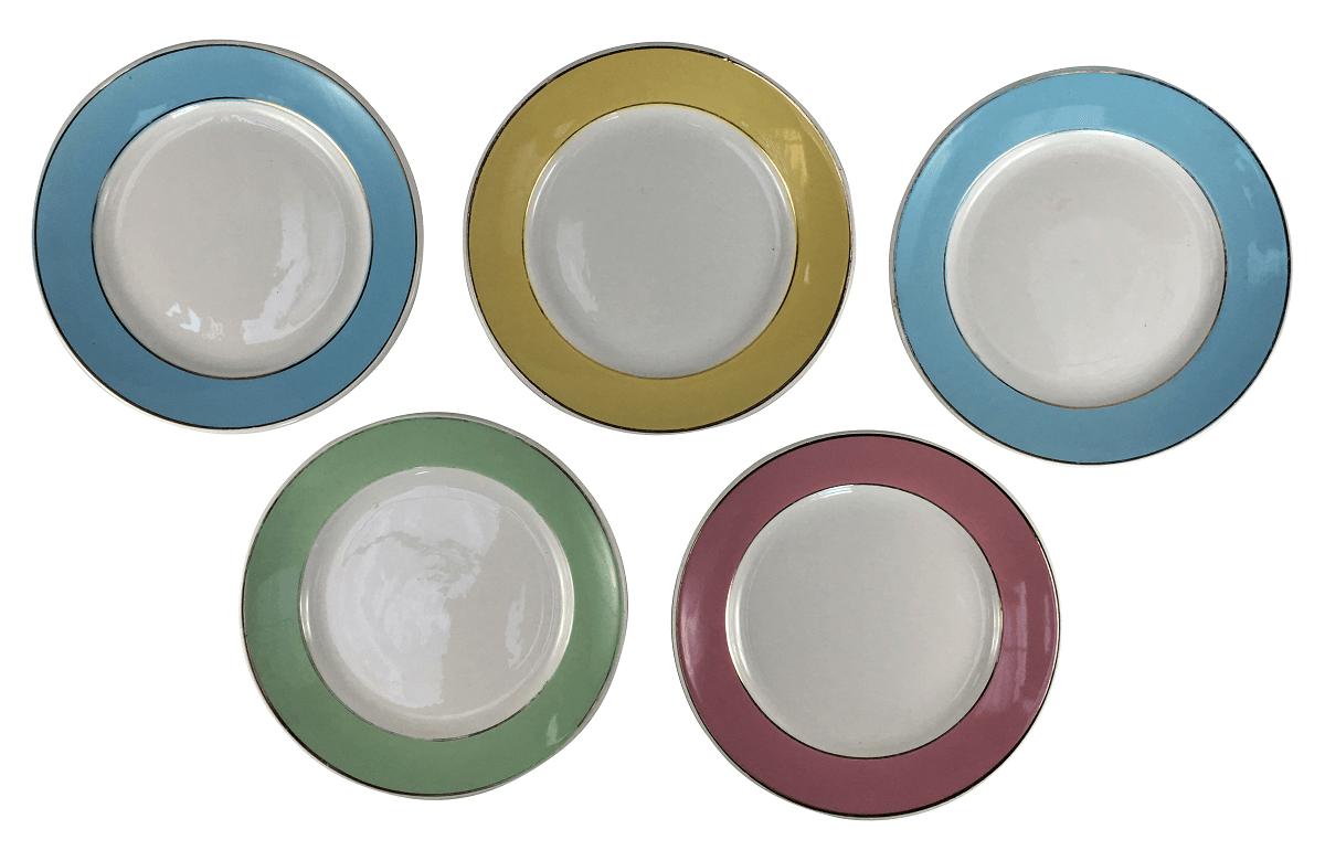 5 Prato Antigo Sobremesa Porcelana Nadir