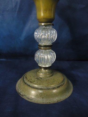 Magnifico Par De Castiçais Metal Cupula Vidro Lapidado