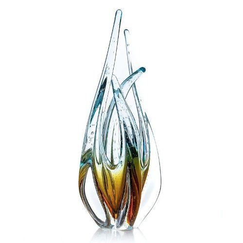 Escultura Vaso Em Murano Cristal Sao Marcos Ambar E Azul