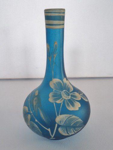 Antigo Vaso Em Pasta De Vidro Ou Vidro Acidado Pintado A Mao