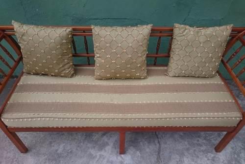 Lindo Conjunto Sofa Em Palhinha E Poltronas Tecido Nobre