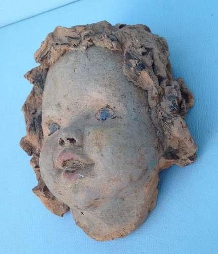 Antiga Escultura Cabeça De Anjo Em Terracota Feito A Mao