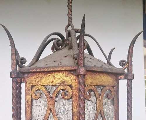 Espetacular Lustre Lanterna Antiga Em Metal Belo Design