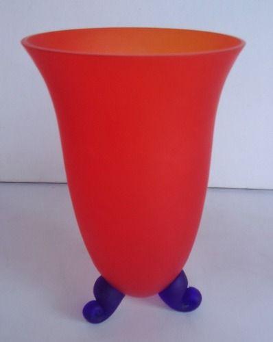 Lindo Par De Vasos Em Vidro Acidado Com Pés