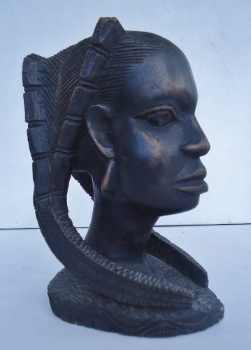 Bela Escultura Cabeça Mulher Africana Em Madeira Entalhada