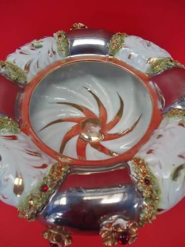 Magnifico Centro Mesa Antigo Porcelana Detalhes Alto Relevo