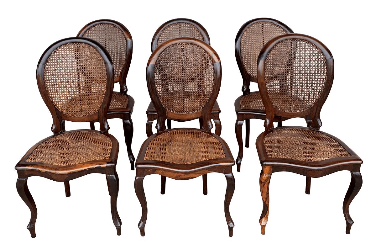 6 Cadeira Antiga Medalhao Jacaranda Palhinha Indiana