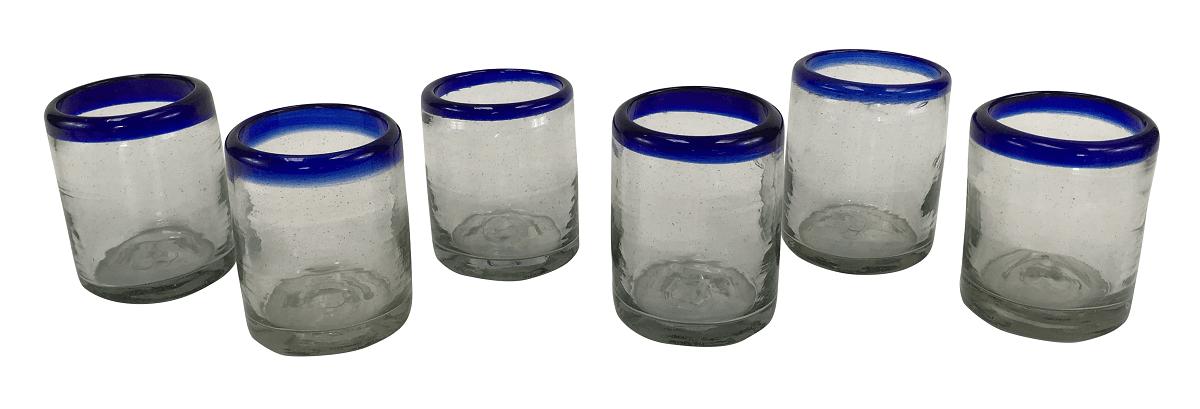 6 Copos Em Vidro Murano Azul 9cm Altura