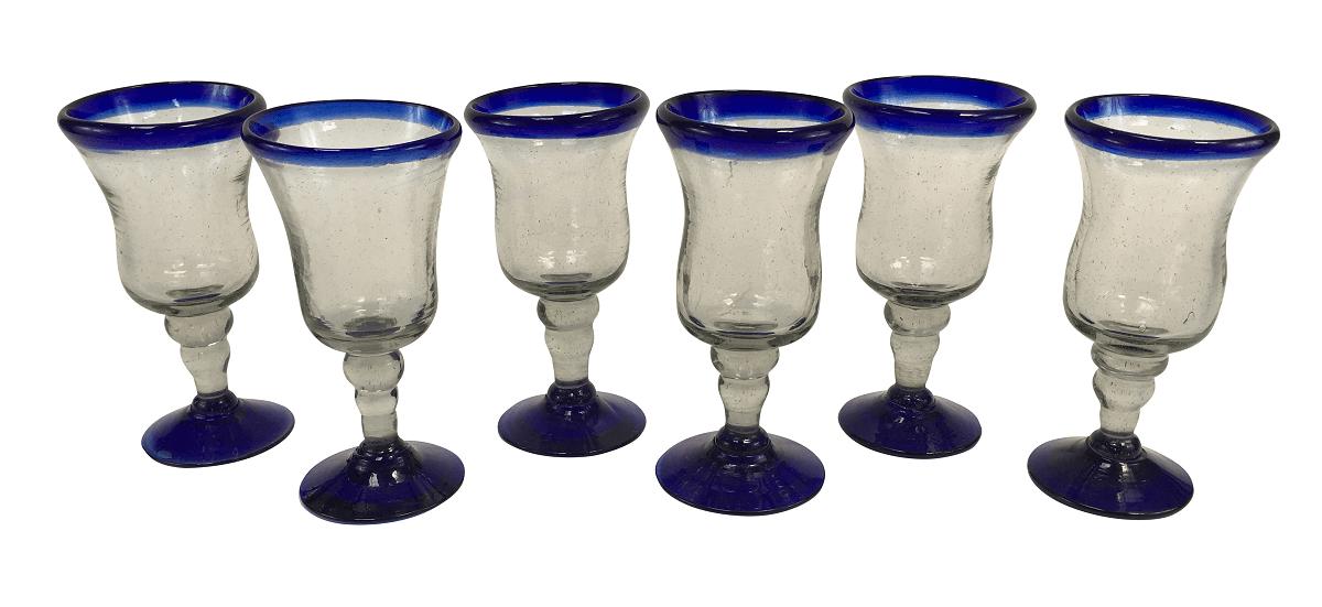 6 Taças Em Vidro Murano Azul 15cm Altura