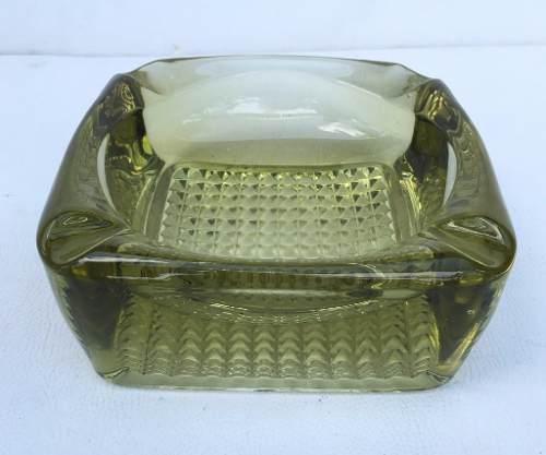 Antigo Cinzeiro Em Cristal Verde Musgo