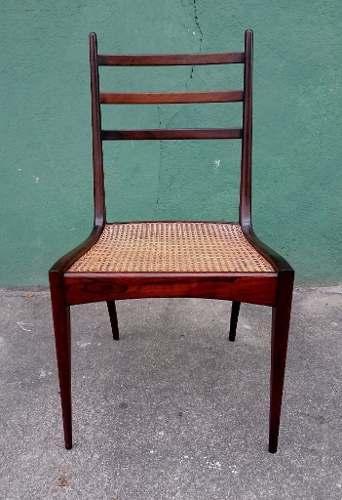 Antiga Cadeira Scapinelli Em Jacarandá E Palhinha
