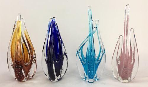 Escultura Vaso De Murano Cristal Sao Marcos Ambar Com Bolhas