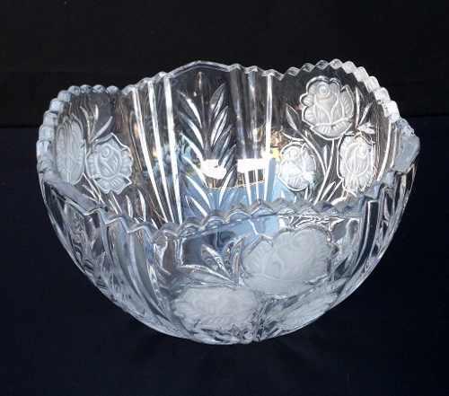 Lindo Vaso Em Cristal Com Flores