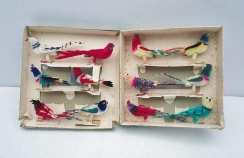 Chenile Birds 12 Pássaros Decorativos Antigos Na Caixa