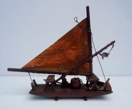 Lindo Barco Caravela Em Jacarandá Vela Em Cobre
