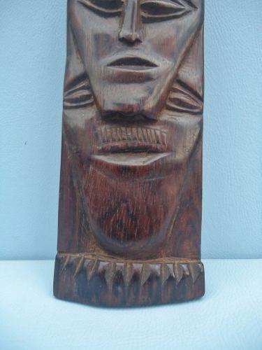 Escultura Em Jacarandá Representando Duas Faces