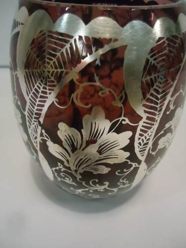 Vaso Antigo Em Cristal Veneziano Pintura Em Prata