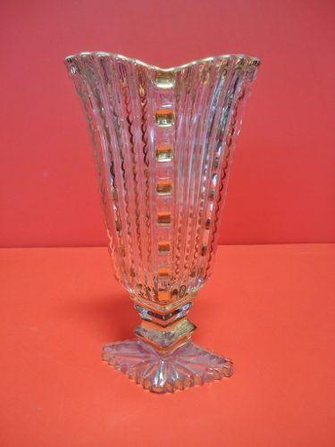 Antigo Vaso Floreira Em Vidro Ricamente Trabalhado Em Ouro