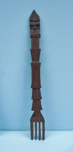 Garfo e Colher Decorativa Em Jacarandá