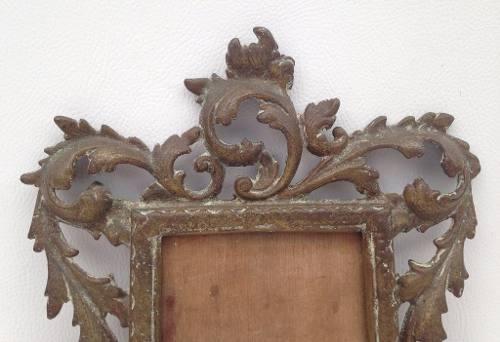 Antigo Porta Retrato Em Bronze De Parede
