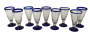 9 Taças Em Vidro Murano Azul 16cm Altura